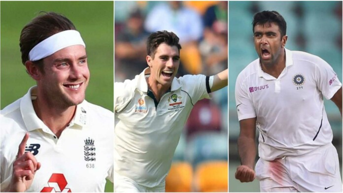 Stuart Broad, Pat Cummins and Ravichandran Ashwin