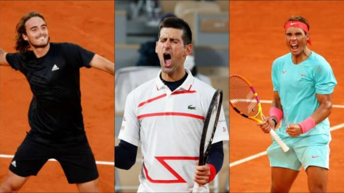 Stefanos Tsitsipas, Novak Djokovic and Rafael Nadal
