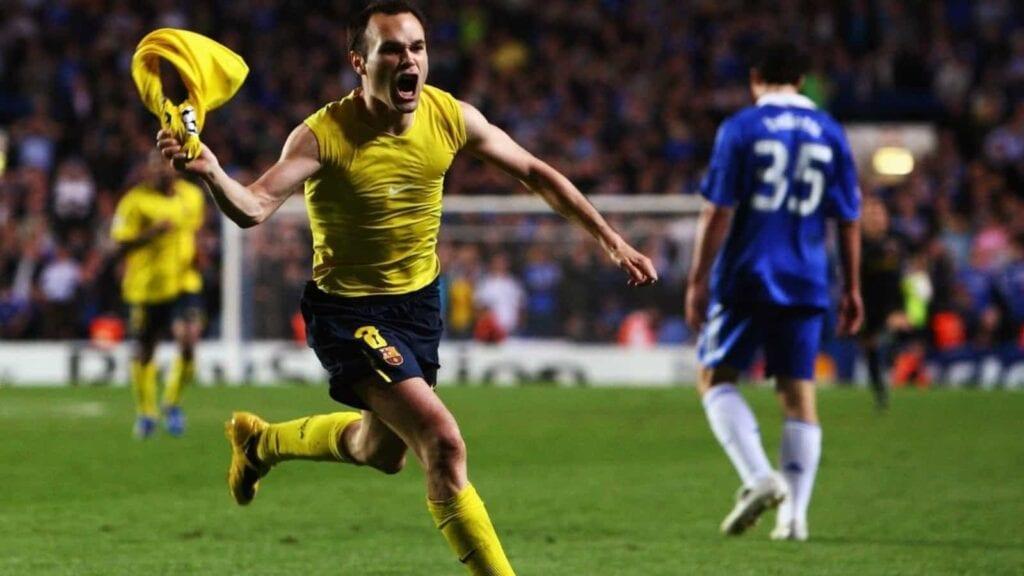 Andres Iniesta's away goal in Barcelona's infamous victory over Chelsea