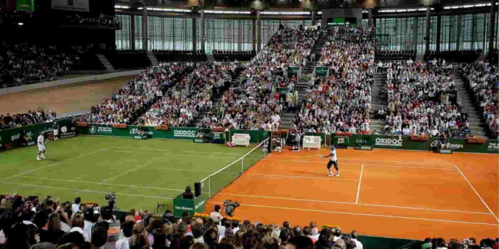Battle of Surfaces match between Roger Federer and Rafael Nadal