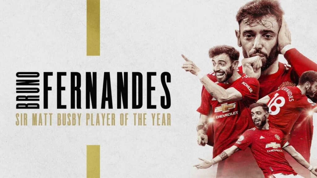 Bruno Fernandes has been crowned Manchester United's Sir Matt Busby Player of the Year for the second successive season