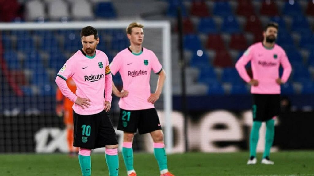 FC Barcelona players after failing to protect their lead