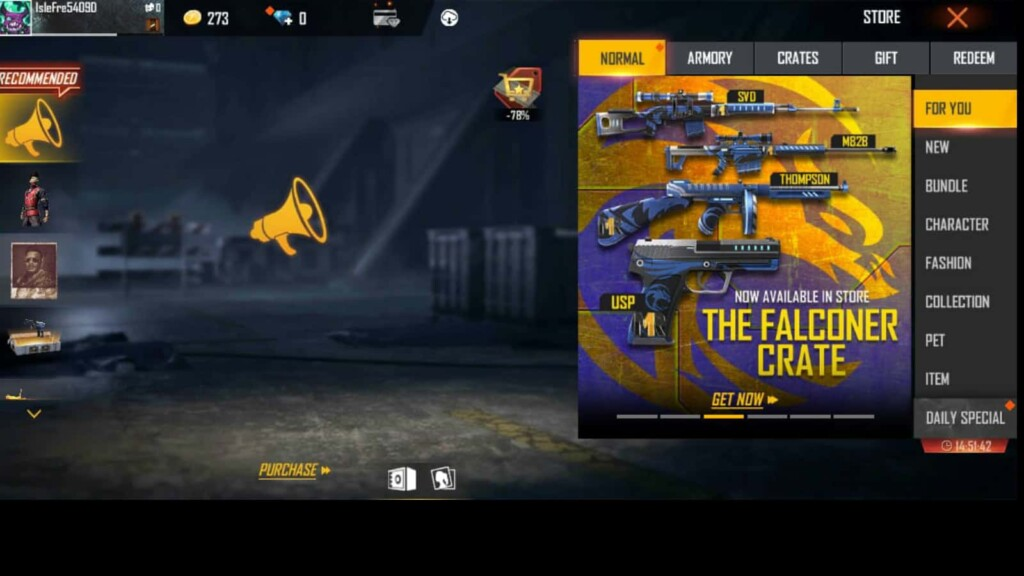 Falconer Crate in Free Fire 1 - FirstSportz