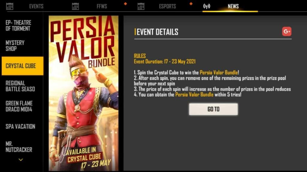 Free Fire Persia Valor bundle