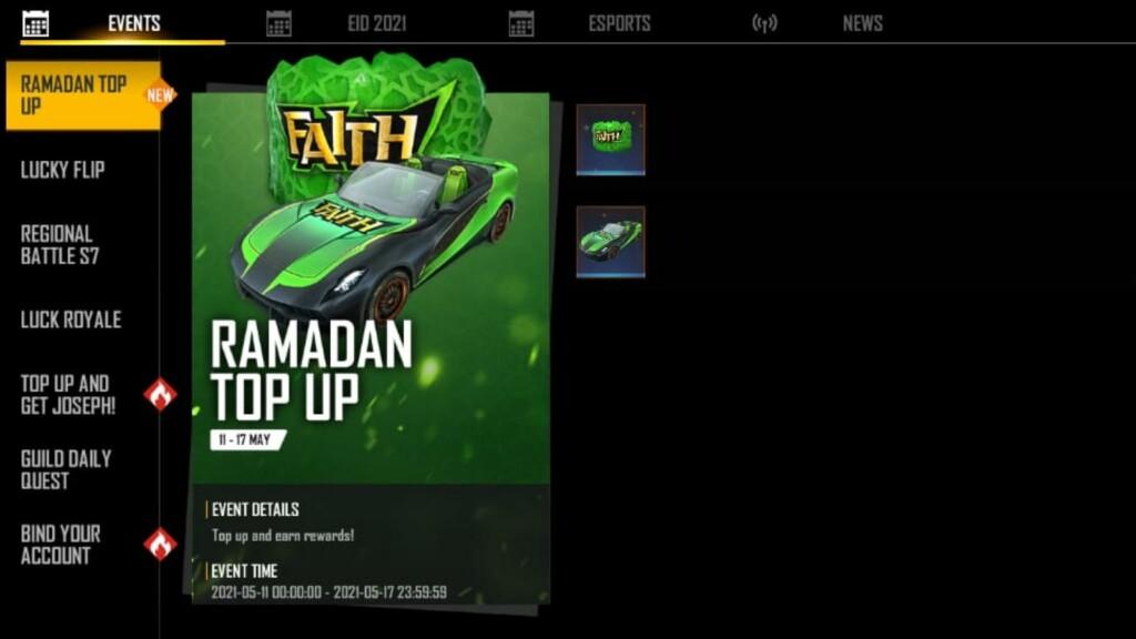Free Fire Ramadan Top-up event