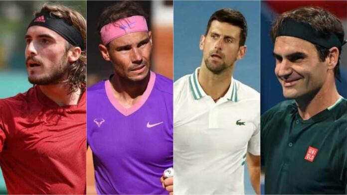 Stefanos Tsitsipas Rafael Nadal Novak Djokovic and Roger Federer