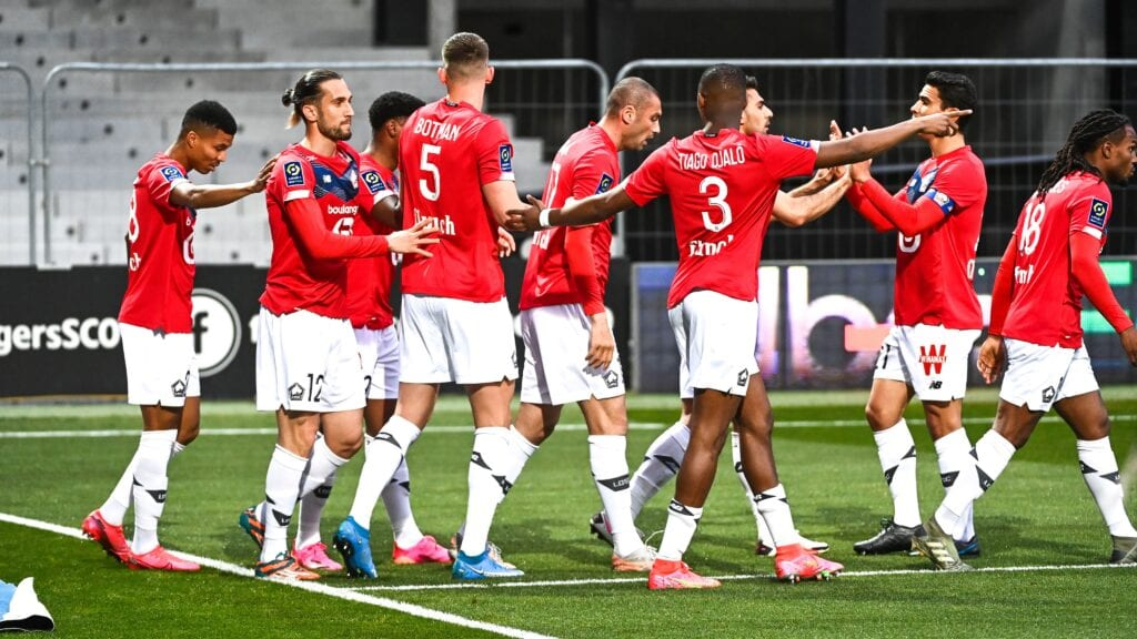 Lille celebrate their first goal against Angers - FirstSportz