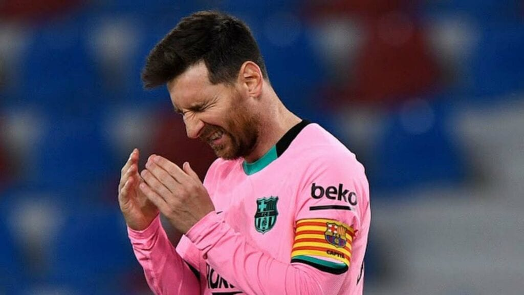 Lionel Messi reacts after the pinching draw