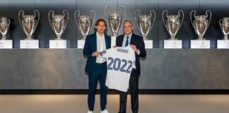 Luka Modric with Real Madrid club president Florentino Perez