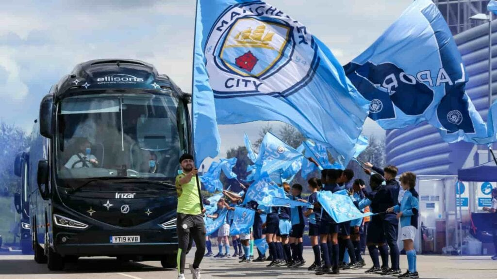 Manchester City team bus en-route to Portugal