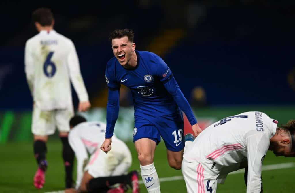 Mason Mount celebrates after scoring against Real Madrid - FirstSportz