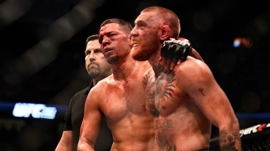 Nate Diaz and Conor McGregor after their bloody war at UFC 196