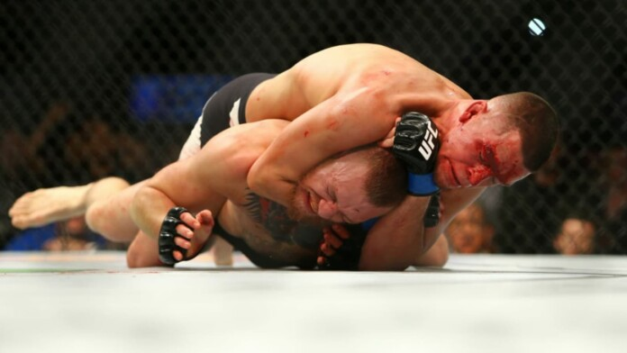 Nate Diaz tapping out Conor McGregor