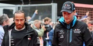 Lewis Hamilton and George Russell