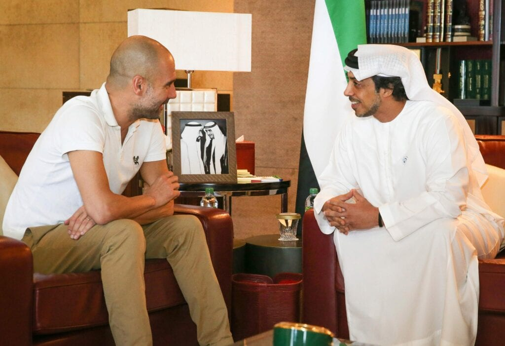 Pep Guardiola with His Highness, Sheikh Mansour in Dubai
