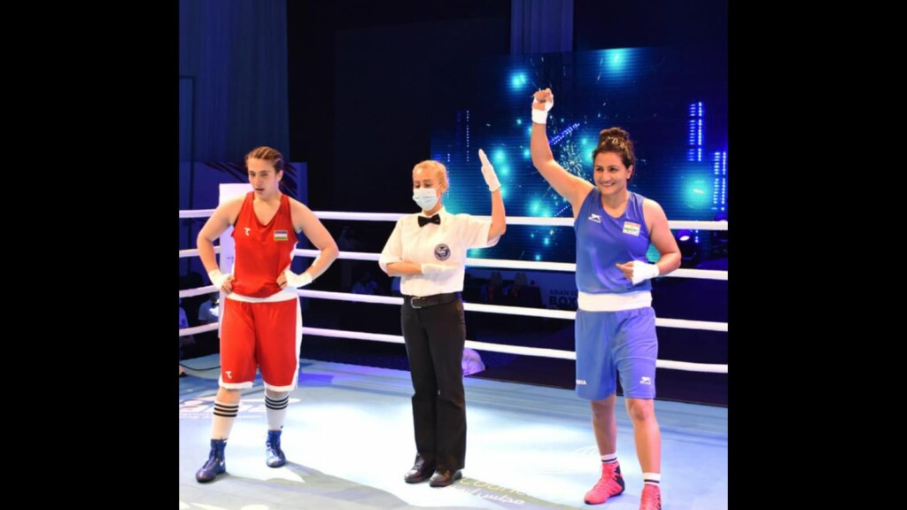 Pooja Rani wins the gold medal at the Asian Boxing Championship