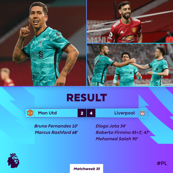 Liverpool defeat United 4-2 at Old Trafford