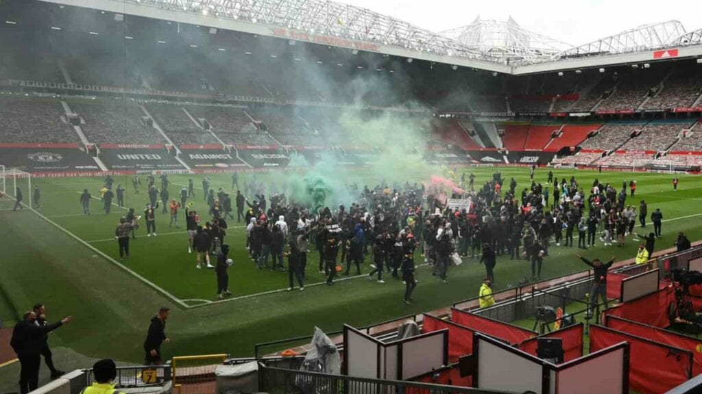 Protests at Old Trafford which postponed the Manchester United vs Liverpool match