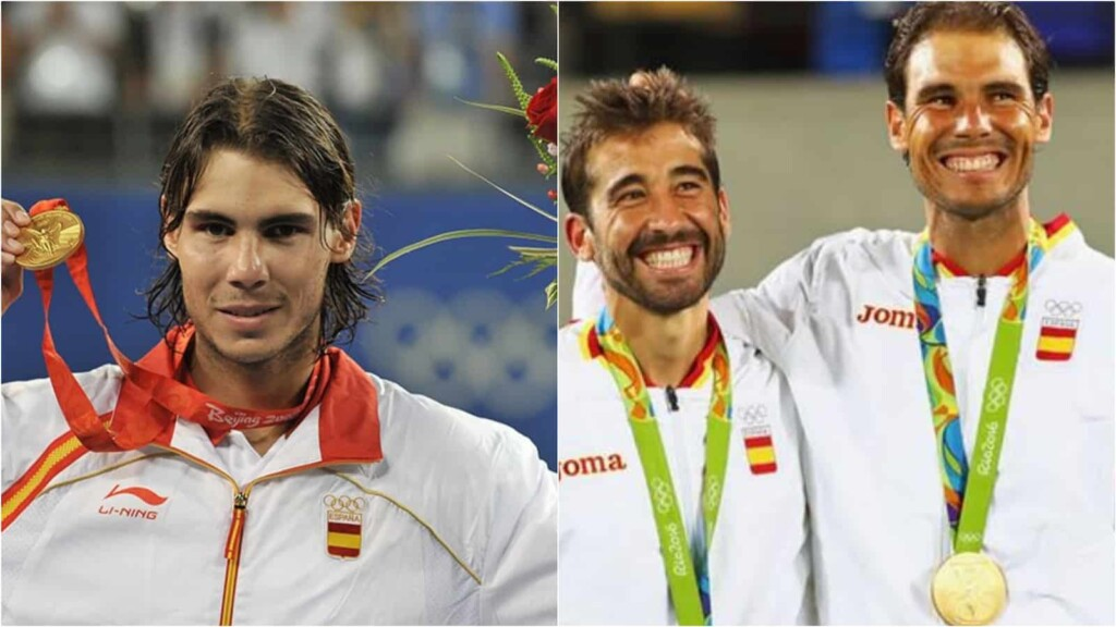 Rafael Nadal with his Olympics Medals