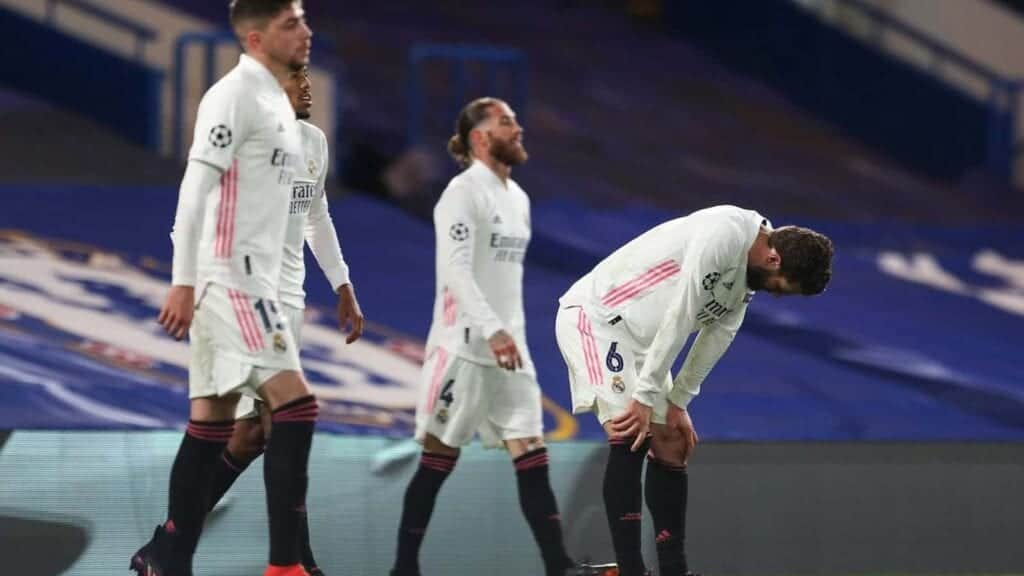 Real Madrid players dejected after conceding - FirstSportz