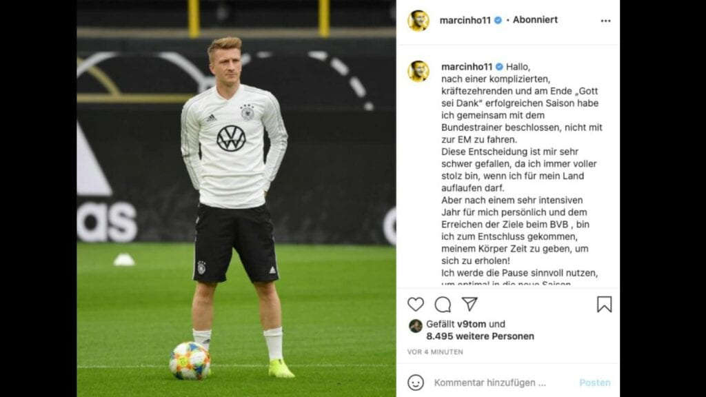 Reus took to Instagram to announce his leave