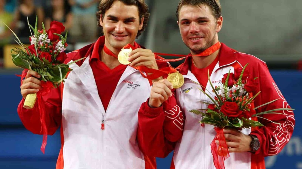Roger Federer with his Doubles Gold Medal at the 2008 Beijing Olympics