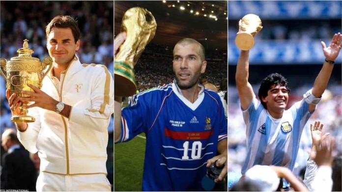 Roger Federer, Zinedine Zidane, Diego Maradona