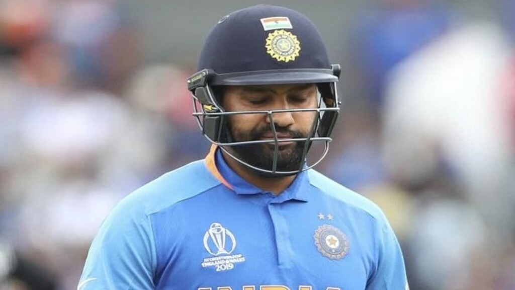 Rohit Sharma after being dismissed in the semi final of 2019 World Cup
