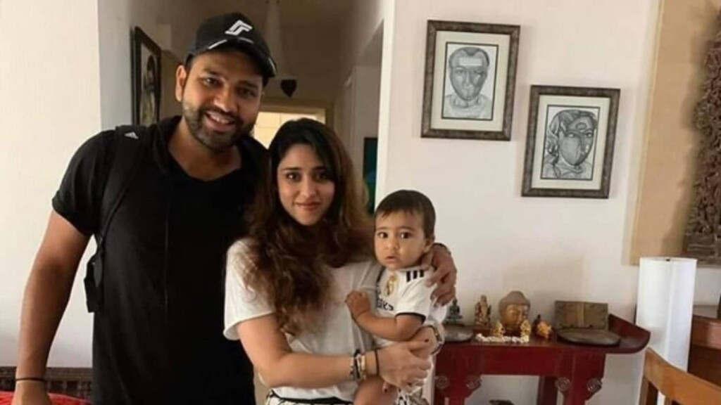 Rohit Sharma with his family at his house