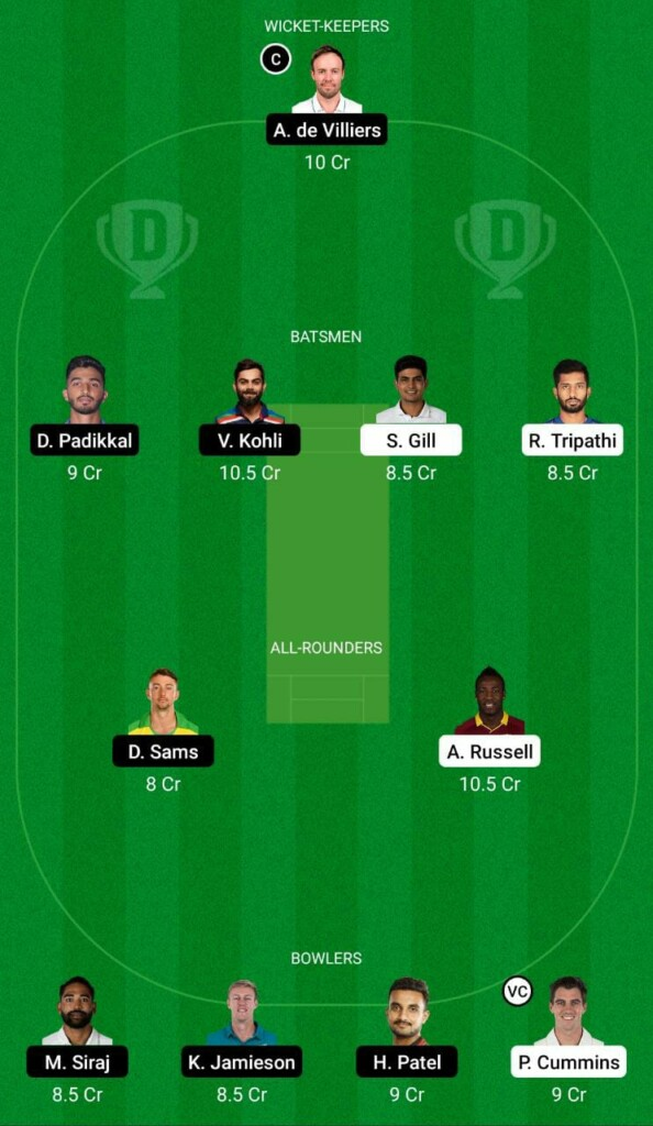 KKR vs RCB IPL 2021 Dream11