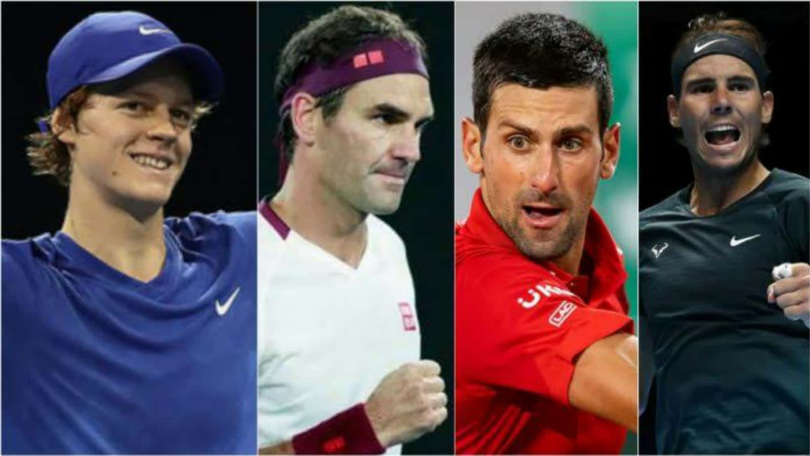 Jannik Sinner Roger Federer Novak Djokovic Rafael Nadal