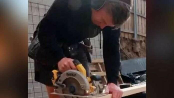 Xavier Doherty working as a carpenter