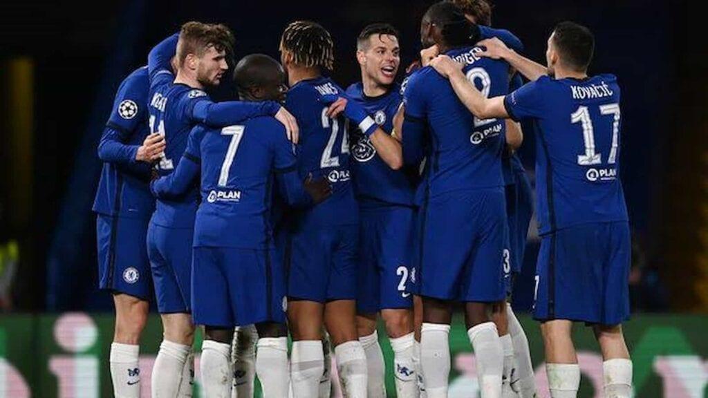 An elated Chelsea team