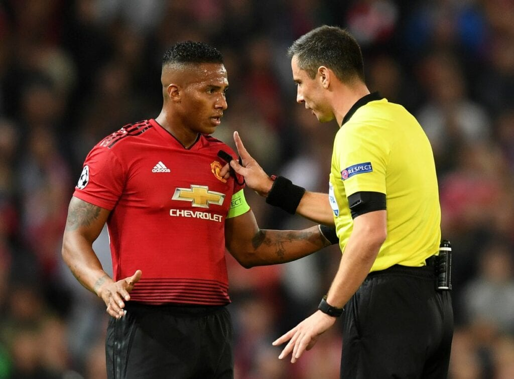 Antonio Valencia wearing the captain's armband for Manchester United