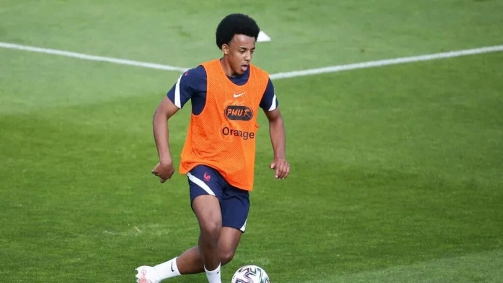 Jules Kounde practices at at training ground at Clairefontaine