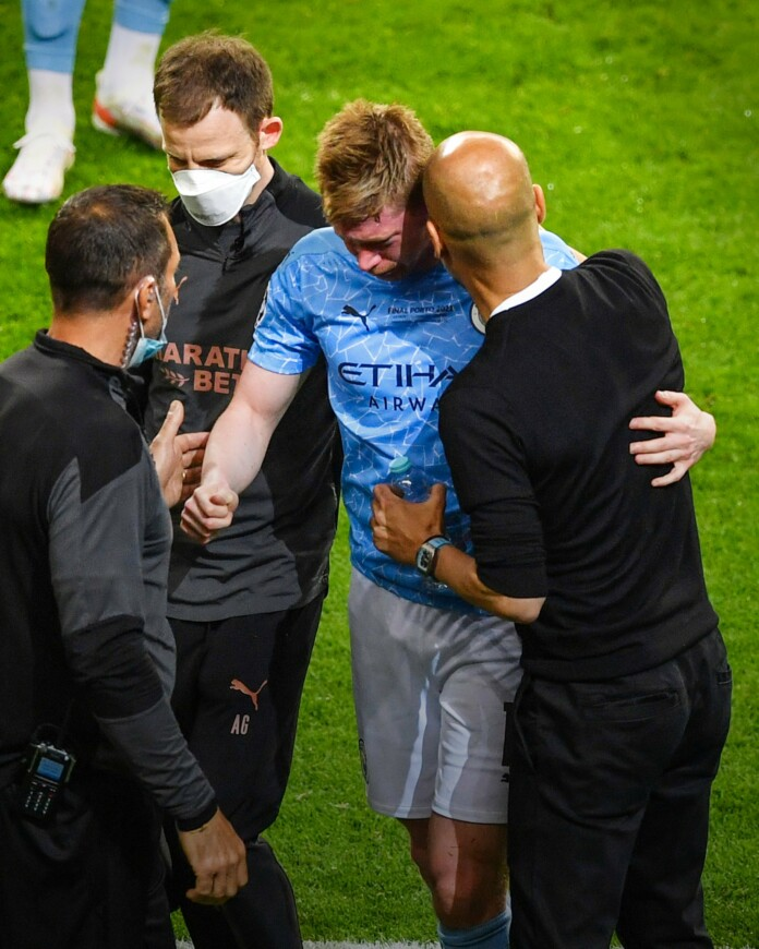Kevin De Bruyne Injury, in doubt for the upcoming EUROs as he suffers fractured nose and left orbital during Champions League final defeat