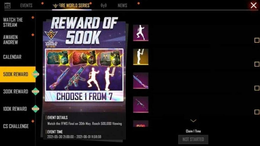 Free Fire world series 2021 rewards