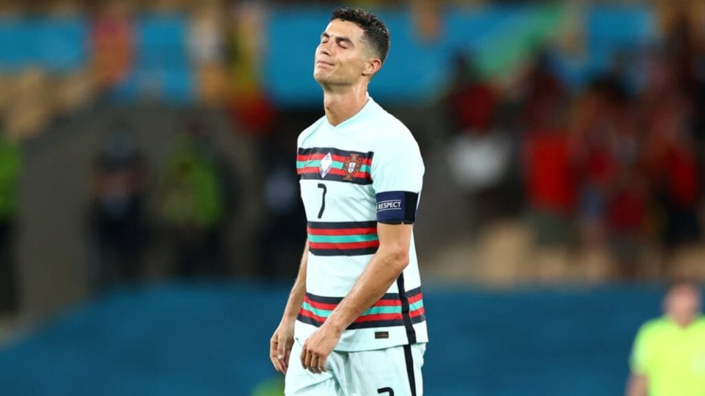 A disappointed Cristiano Ronaldo after the defeat
