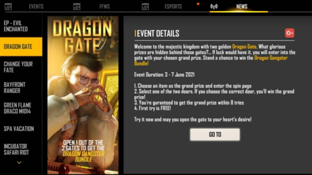 Dragon Gate event in Free Fire