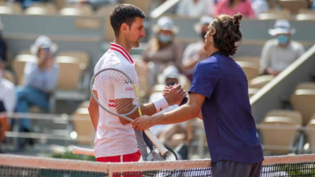 Novak Djokovic and Lorenzo Musetti