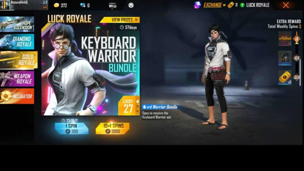 free fire keyboard warrior bundle