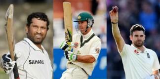Sachin Tendulkar, Ricky Ponting and James Anderson