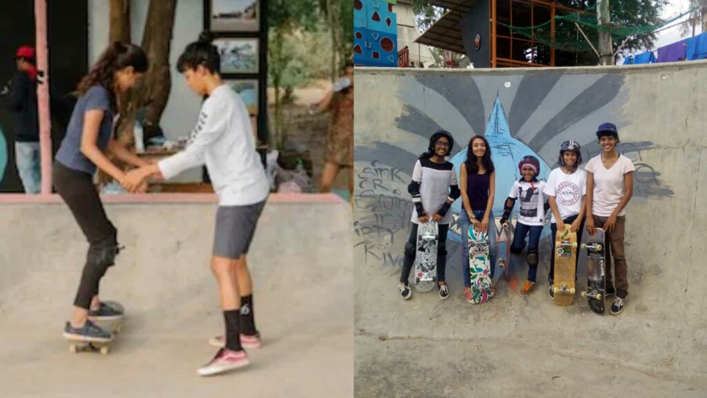 Verghese teaching skateboarding to newbies