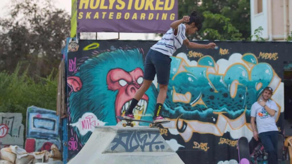 Atita Verghese skateboarding