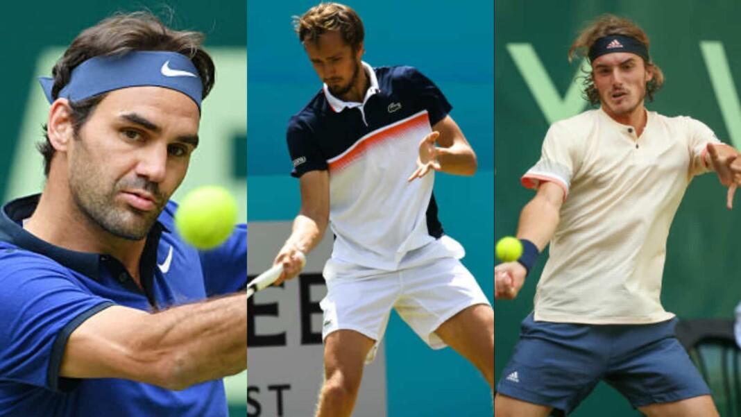 Roger Federer, Daniil Medvedev and Stefanos Tsitsipas