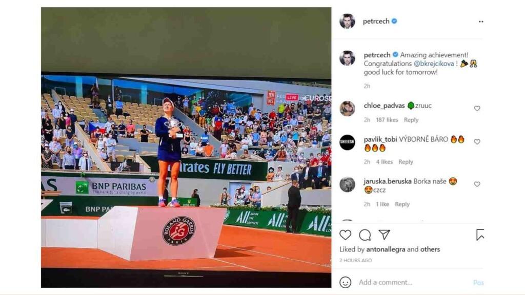 Petr Cech on Barbora Krejcikova