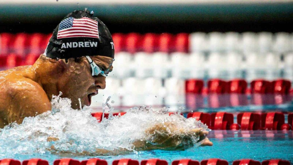 Michael Andrew at the Olympic trials for swimming