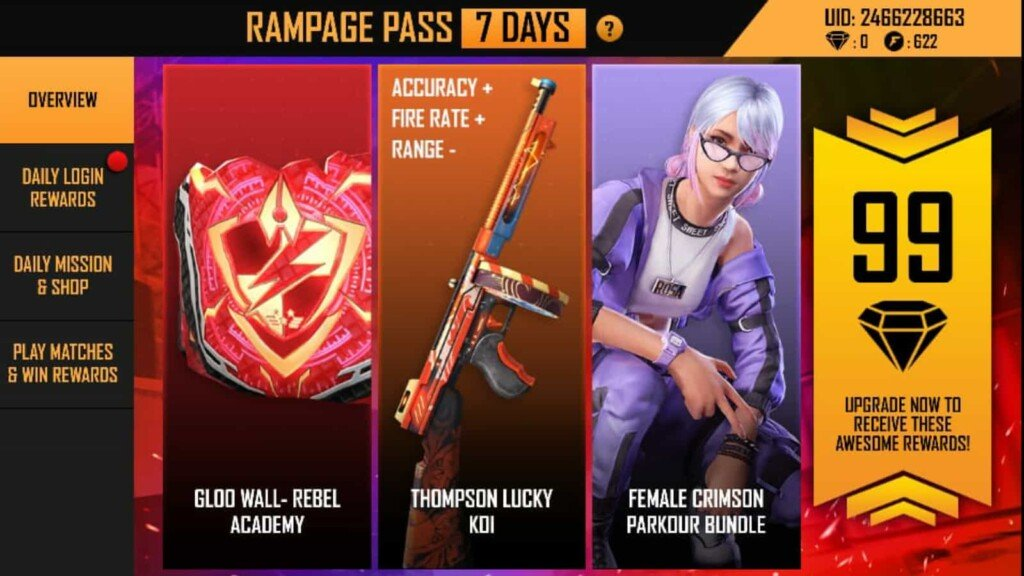 Free Fire rampage pass event