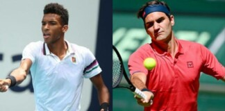 Felix Auger-Aliassime and Roger Federer