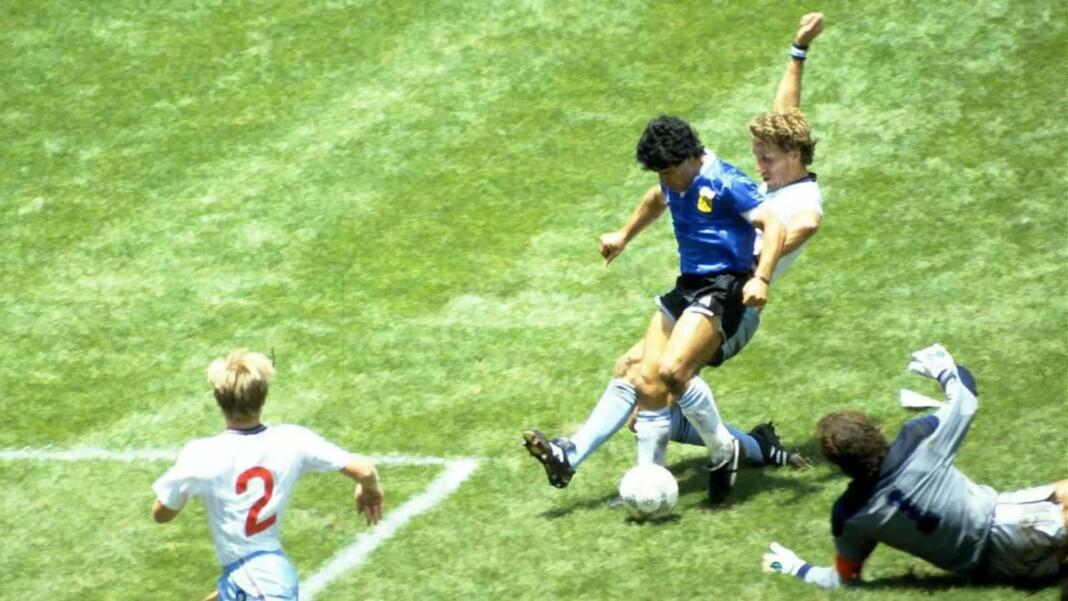 Diego Maradona scoring the 'goal of the century'.